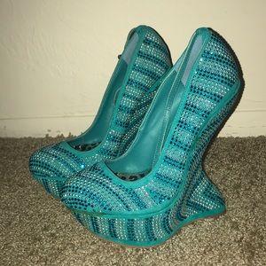 Aqua Bedazzled Heels
